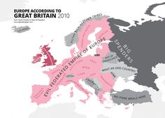 ••Europe acc. to UK•• 2010 map of stereotypical ignorance • 1 of the 40 cartographic caricatures ridiculing the worst excesses of human bigotry and narrow-mindedness • in the most original Atlas! ; ) ••ATLAS OF PREJUDICE•• Mapping Stereotypes, Vol. 1 by Yanko Tsvetkov (Bulgarian) 2013-08 • 74p • $15 • ISBN: 1491297107