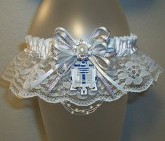 R2-D2 Star Wars Silver and White Lace Prom 2016 Garter Rhinestone Sparkle Feather Fur Something Blue Wedding Garter