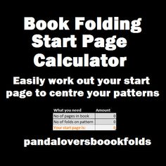 Book Folding start page calculator Book by Pandaloversbookfolds