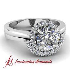 NEW Round Halo Petite Diamond Engagement Wedding Rings Set In Bar Setting