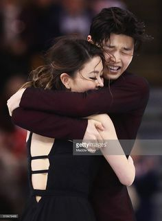 Maia Shibutani and Alex Shibutani of the United States celebrate after completing their Free Dance Program during Day 4 of the ISU World Figure Skating Championships 2016 at TD Garden on March 31, 2016 in Boston, Massachusetts.