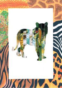 3 TSO sociaal technisch: uitsnijden contour dier, stroken uit tijdschriften plakken om figuur op te vullen, kader uitwerken in dierenvachten in kleurstift