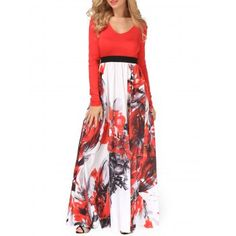 717b2581 SHARE & Get it FREE | Empire Waist Flower Painting Maxi Flowing DressFor  Fashion Lovers only