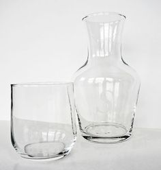Williams Sonoma Bedside Guest Room Handblown Glass Water Carafe Monogrammed