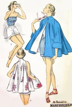 1950s Fab Playsuit and Swing Jacket Beach Coat Pattern Advance 6103 Pin Up Rompers Beach Jacket Full Flared Bust 30 Vintage Sewing Pattern