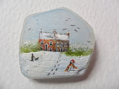 Snow cottages  Original acrylic miniature by Alienstoatdesigns, $12.00