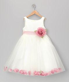 Look at this #zulilyfind! White & Dark Pink Rose Petal Dress - Toddler & Girls by Cinderella Couture #zulilyfinds