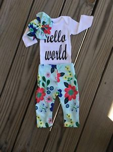 78862cd147da Beautiful Newborn Girl 3 Pieces Spring Flowers Coming Home Outfit NB 24mths