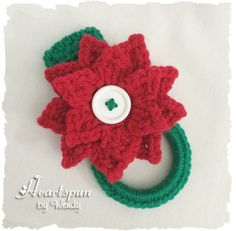Christmas Poinsettia dish towel or hand towel ring, great for holding towels in the kitchen, bathroom, laundry. by HeartspunByWendy on Etsy Crochet Towel Holders, Crochet Dish Towels, Crochet Towel Topper, Crochet Hooks, Double Crochet, Single Crochet, Christmas Poinsettia, Poinsettia Flower, Christmas Stuff
