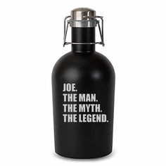 """""""The Man. The Myth. The Legend."""" Black Matte Stainless Steel Beer Growler-Growler-Here Comes The Bling™"""
