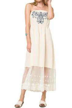 EMBROIDERY DETAIL CHIFFON HALTER MAXI DRESS