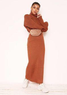 a2bb23db25fcb Missyempire - Vicki Rust Knit Jumper Midi Co-ord Set Midi Skirt Outfit