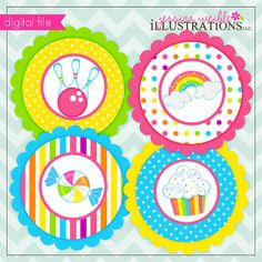 Girly Rainbow Bowling Theme - Printable Party Tags - Circles -Cupcake Toppers