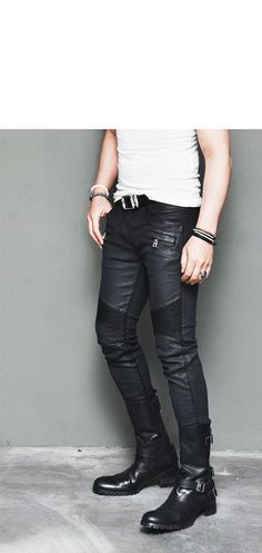 Bottoms :: Pants :: Best Ever Wax Coated Leather Seaming Skinny Biker-Pants 109 - Mens Fashion Clothing For An Attractive Guy Look