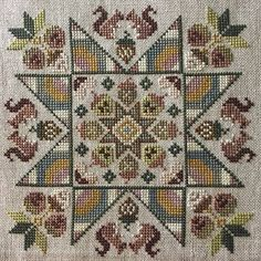 BLUE FLOWER Spring Acorns counted cross stitch patterns 2019 Nashville Needlework Market by thecottageneedle Primitive Embroidery, Folk Embroidery, Cross Stitch Embroidery, Embroidery Patterns, Counted Cross Stitch Patterns, Cross Stitch Designs, Modern Cross Stitch, Acorn, Cross Stitching