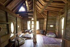 Whimsical Treehouse interior, love the staircase!