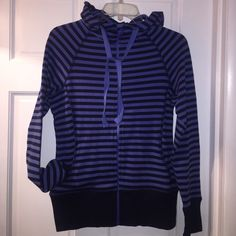 ZELLA ZIP JACKET Great little stripped black and blue jacket from Zella. Hoodie and two front pockets. Sleeves approximately 24 inches. Overall length is 25 inches. Size small. Zella Jackets & Coats Utility Jackets