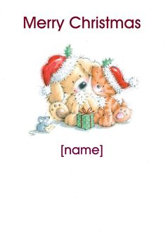 """HelloTurtle Christmas Cards """"Kitten Puppy and Mouse Santa Hats"""" personalised card Personalise and send this Christmas card to someone you care about. Same day despatch on orders received before (Mon-Fri) Christmas Names, Merry Christmas, Personalised Christmas Cards, Santa Hat, Penguins, Kitten, Teddy Bear, Hats, Merry Little Christmas"""