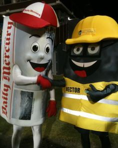 Hector The Piece Of Coal, Dalrymple Bay Coal Terminal's mascot, with his opposite number from the Daily Mercury.  Because of course.