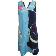 Jamie Sadock Ladies Golf Dress Terra Blues (Turquoise Navy) ($130) ❤ liked on Polyvore featuring jamie sadock