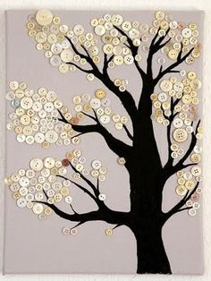 A Button sewing tree . . . this is an idea, there are no instructions. You could get a tree graphic design, transfer to cloth and then sew buttons on or print tree graphic design on paper and then glue buttons on ...