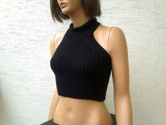 Knitted womens cropped sweater racer back crop by KnitterPrincess, $85.00
