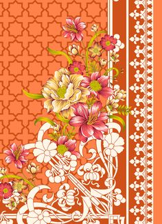 Textile Prints, Textile Design, Textiles, Album Design, Botanical Flowers, Floral Border, Border Design, Digital Pattern, Pattern Art