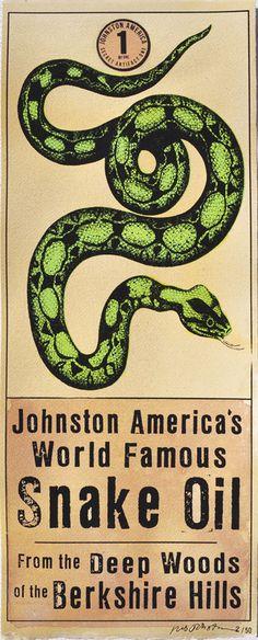 Snake Oil Hand Silk Screened Painting Vintage Antique Ad Print Folk Art Johnston