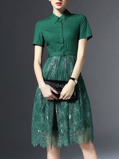 Paneled Lace Midi Dress with Belt