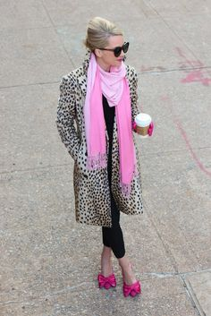 Leopard print knee length coat.  Pink scarf, sophisticated shades and pink bow ballet flats.  Perfection :-)
