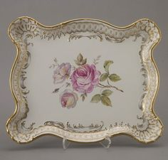 Dresden Porcelain Tray with Floral Motif
