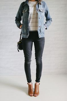 denim jacket, striped top, black jeans, brown peep toe pumps.