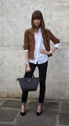 White button-up blouse, dark skinny jeans, brown suede trucker jacket, black high heels