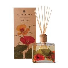 Jasmine, ivy and nasturtium mixed with hyancinth, trumpet flower and wild orchid. Essential and high quality fragrance oils, each bottle comes with a decorative wooden cap and 10 reed diffusers. Fragrance lasts months. Room Diffuser, Candle Diffuser, Cool Packaging, Cosmetic Packaging, Soap Labels, Luxury Candles, Packaging Design Inspiration, Design Ideas, Fragrance Oil