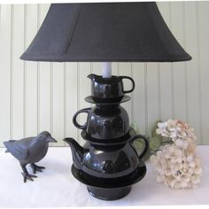 Black Teapot Lamp with Stacked Teapot Tea Cup  by ThistleandJug, $85.00