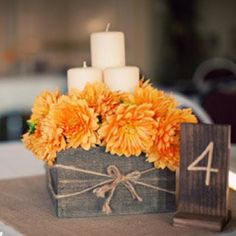 cute rustic wood box centerpieces!
