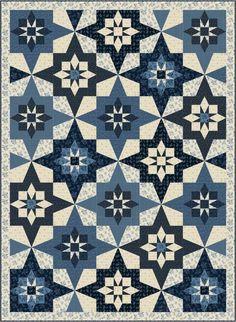 Star quilt pattern - blue quilt.