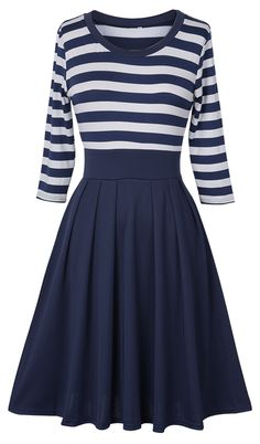 Soft fabric& cozy fit~ This chic stripe splicing dress is an essential piece for you during holidays. View more at Cupshe.com