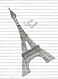 how to draw the eifle tower in five steps