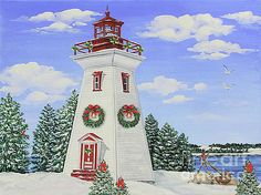 Christmas Lighthouse-JP3901 by Jean Plout