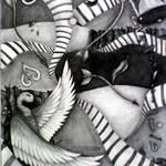 "Brandy Manuel Chaos, 24x30"" Pencil on paper FRAMED $850"