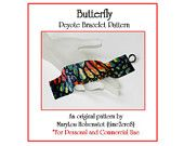 Peyote Bracelet Pattern ... BUTTERFLY ... Monarch Butterfly Wing Multicolor Single Peyote Wide Beautiful Woman Gift Jewelry Tutorial