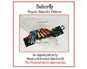 Peyote Bracelet Pattern ... BUTTERFLY ... Monarch Butterfly Wing Multicolor Single Peyote Wide Beautiful Woman Gift Jewelry Tutorial