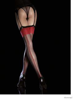 Strapsstrümpfe RED KISS mit Naht von Fiore!