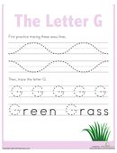 First, kids trace lines on this prekindergarten writing worksheet to strengthen the fine motor skills needed to form the letter G. Then they trace the letter G!