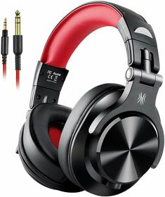 OneOdio Wired Over Ear Headphones, Studio Headphones with SharePort, Professional Monitor Recording & Mixing Foldable Headphones with Stereo Sound for Electric Drum Keyboard Guitar Amp (Red) Studio Headphones, Bluetooth Headphones, Over Ear Headphones, Music Express, Guitar Amp, Headset, Keyboard, Monitor, Headphones