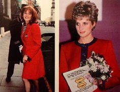 Ladies in red 1993 Princess Diana and Duchess Sarah