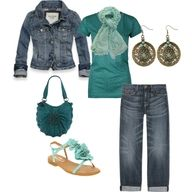 jeans; jean jacket; teal t-shirt; teal purse; light teal sandals; teal scarf