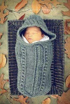 Grey crochet swaddler