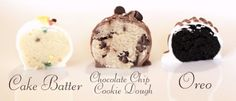Cake batter, chocolate chip cookie dough and oreo truffles! I made the Chocolate Chip Cookie Dough balls and they are really Köstliche Desserts, Delicious Desserts, Dessert Recipes, Yummy Food, Cake Recipes, Chocolate Chip Cookies, Chocolate Chip Cookie Dough, Nutella Chocolate, Chocolate Brownies